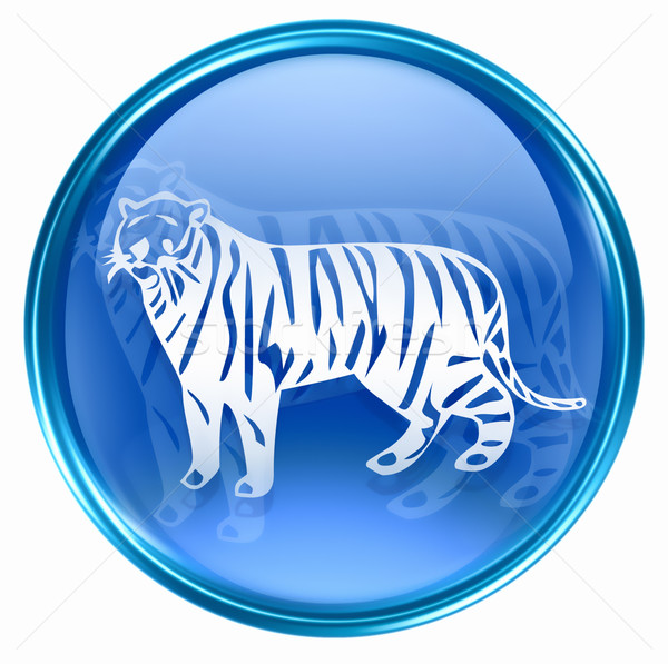 Tiger Zodiac icon blue, isolated on white background. Stock photo © zeffss