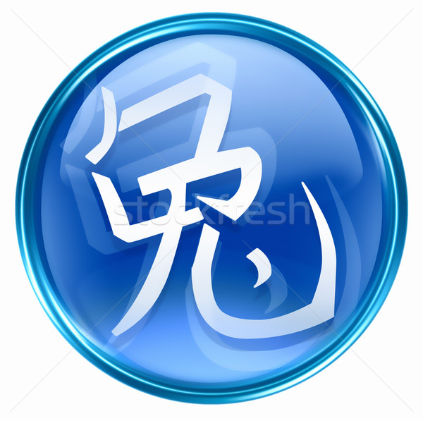 Rabbit Zodiac icon blue, isolated on white background. Stock photo © zeffss