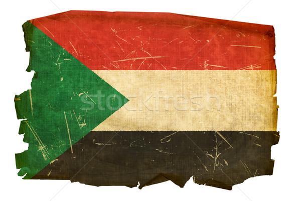 Soedan vlag oude geïsoleerd witte schilderij Stockfoto © zeffss