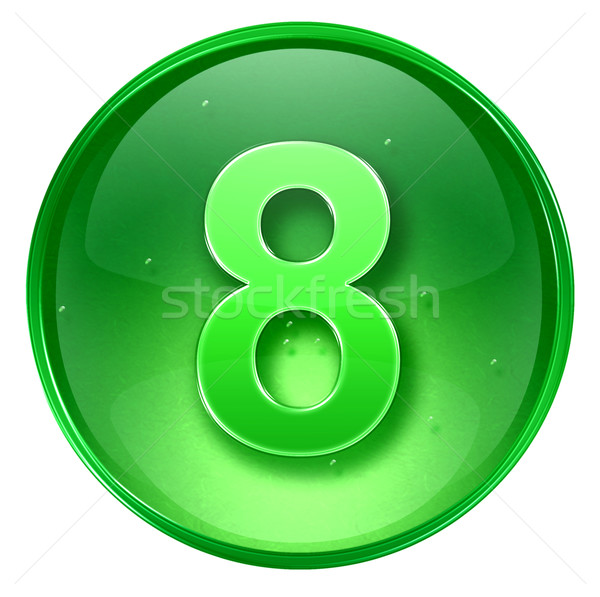number eight icon green, isolated on white background.  Stock photo © zeffss
