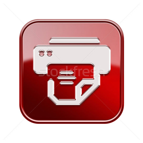 Stock photo: Printer icon red, isolated on white background