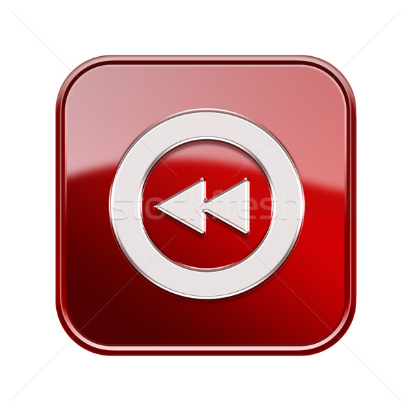 Stock photo: Rewind icon glossy red, isolated on white