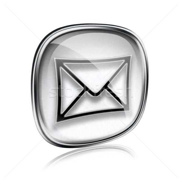 конверт икона серый стекла изолированный белый Сток-фото © zeffss