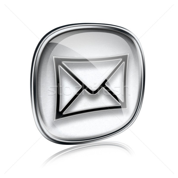 Envelope ícone cinza vidro isolado branco Foto stock © zeffss