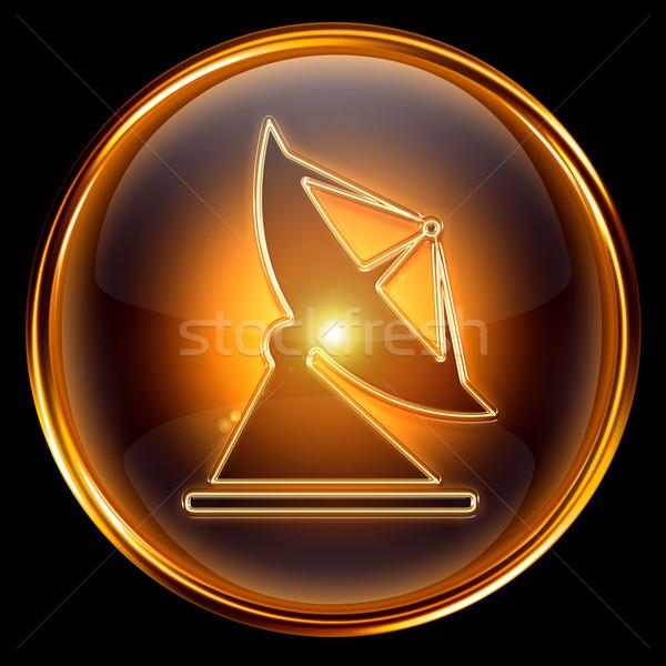 Anteny ikona złoty odizolowany czarny projektu Zdjęcia stock © zeffss
