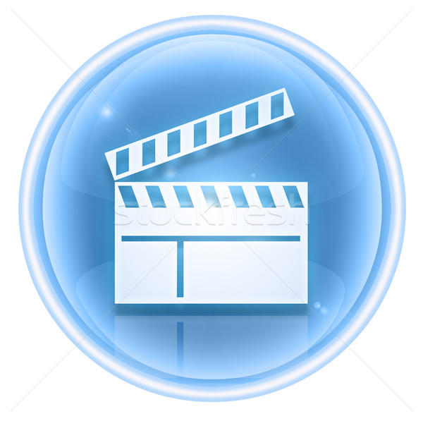movie clapper board icon ice, isolated on white background. Stock photo © zeffss