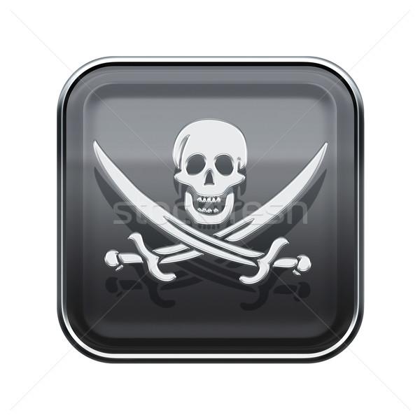 Pirate icon glossy grey, isolated on white backround Stock photo © zeffss