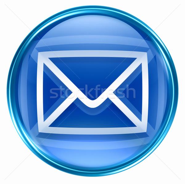 Stock foto: Umschlag · blau · isoliert · weiß · Büro · Papier