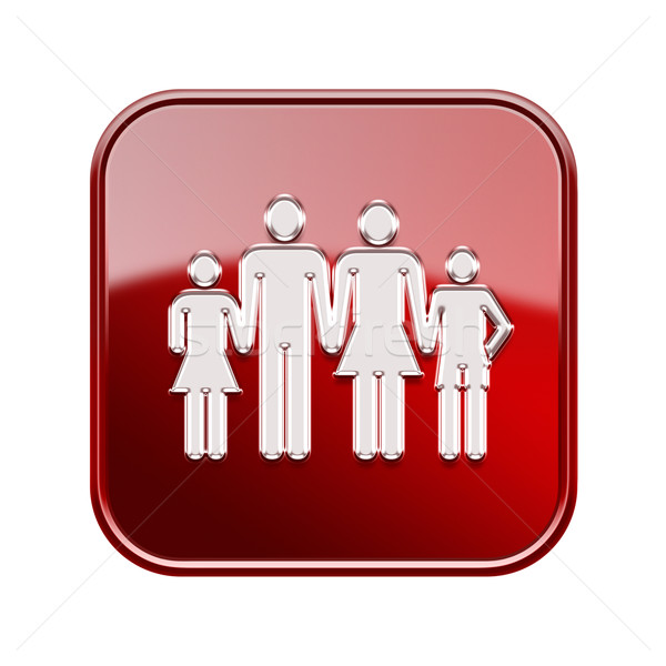 people icon glossy red, isolated on white background. Stock photo © zeffss