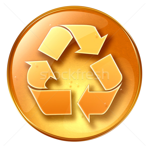 Recycling symbol icon yellow, isolated on white background. Stock photo © zeffss