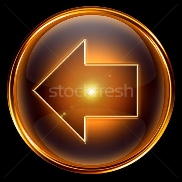 Nyíl ikon arany izolált fekete internet Stock fotó © zeffss