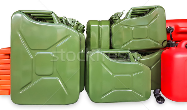 Many green metal cans on a white Stock photo © zeffss