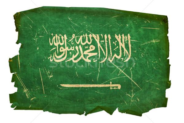 Suudi Arabistan bayrak eski yalıtılmış beyaz kâğıt Stok fotoğraf © zeffss
