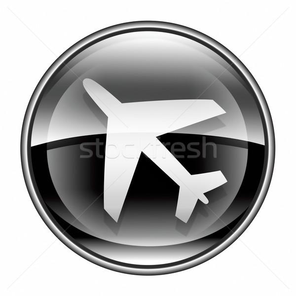Foto stock: Avión · icono · negro · aislado · blanco · ordenador