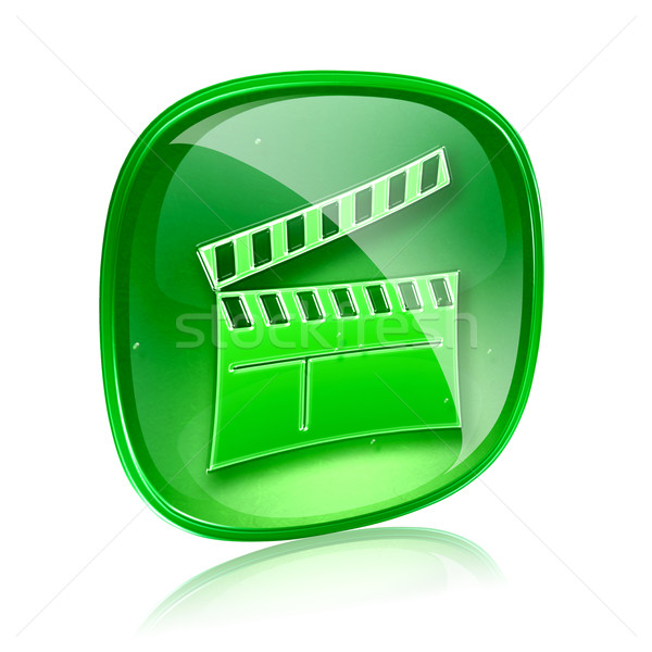 movie clapperboard icon blue green, isolated on white background Stock photo © zeffss