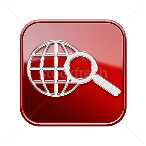 Stock photo: globe and magnifier icon red, isolated on white background