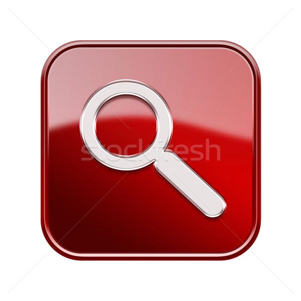 Stock fotó: Nagyító · ikon · piros · izolált · fehér · internet