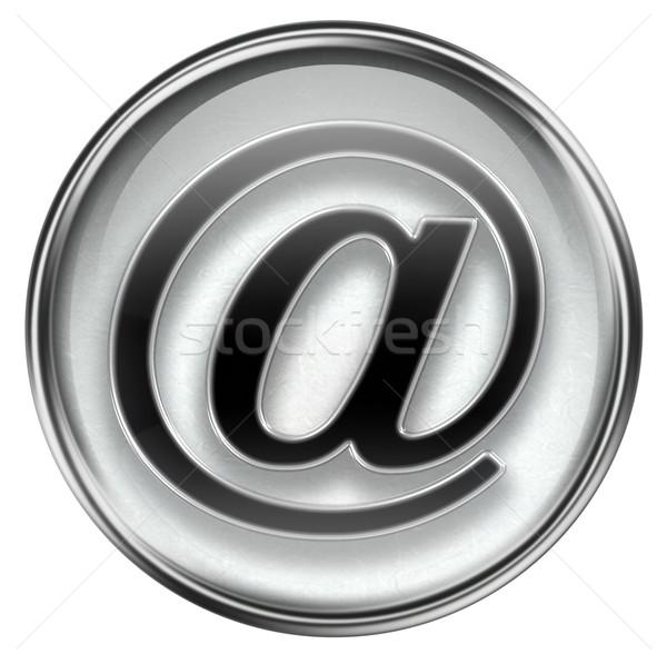Сток-фото: электронная · почта · символ · серый · изолированный · белый · металл