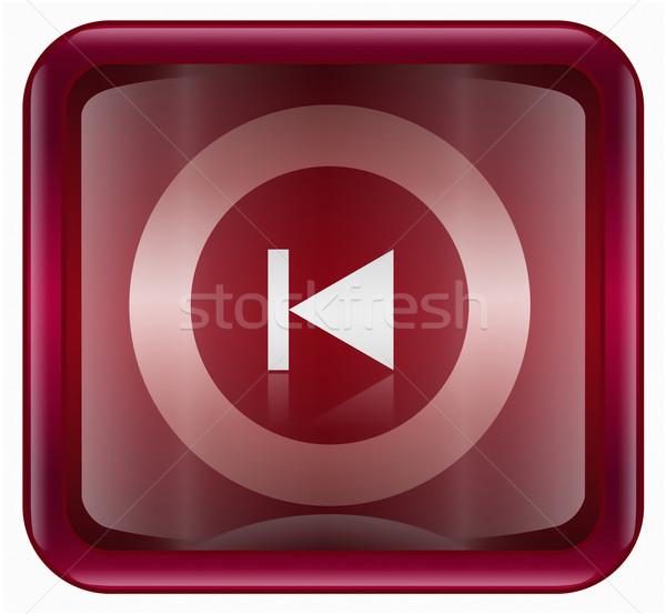 Rewind Back icon dark red, isolated on white Stock photo © zeffss