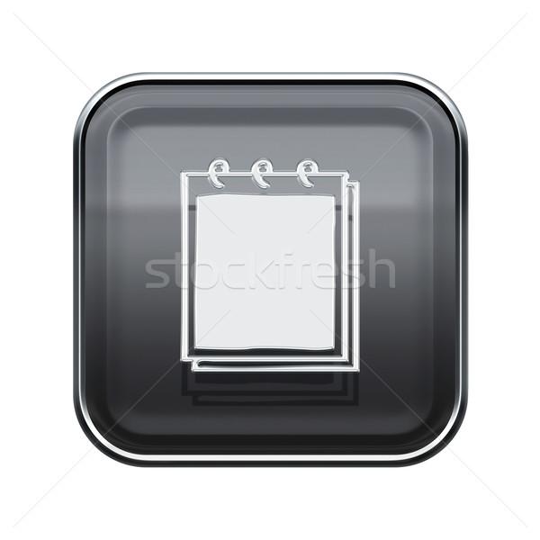 Notebook icon glanzend grijs geïsoleerd witte Stockfoto © zeffss