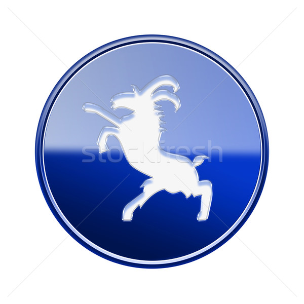 Goat Zodiac icon blue, isolated on white background. Stock photo © zeffss