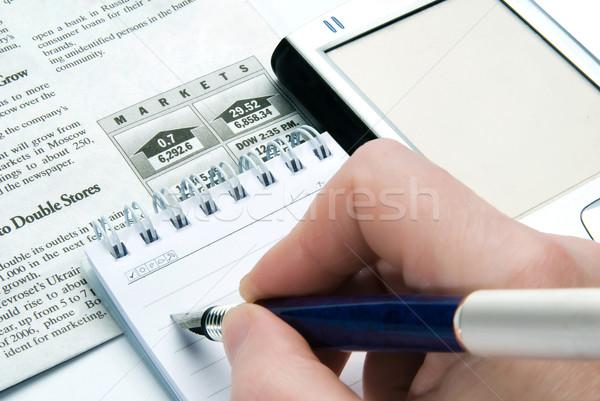 ストックフォト: ビジネス · 金融 · 手 · 鉛筆 · ニュース · 作業