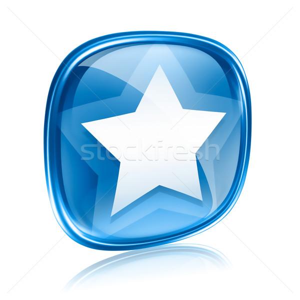 Stok fotoğraf: Star · ikon · mavi · cam · yalıtılmış · beyaz