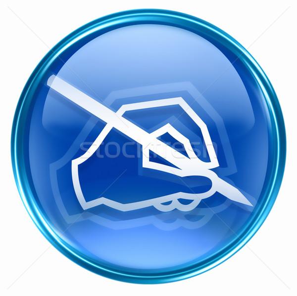 Сток-фото: электронная · почта · икона · синий · изолированный · белый · бизнеса