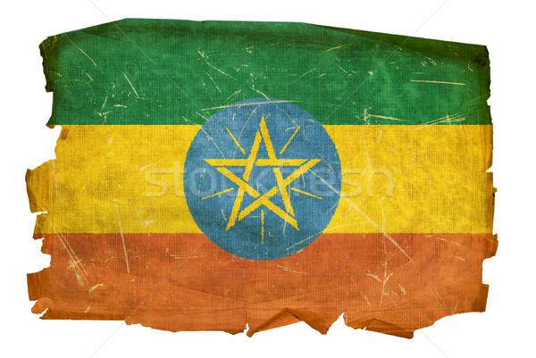 Etiopia banderą starych odizolowany biały malarstwo Zdjęcia stock © zeffss