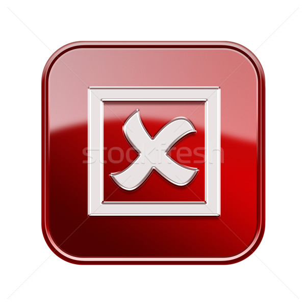 close icon glossy red, isolated on white background Stock photo © zeffss