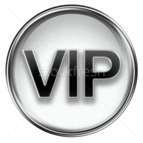 VIP icon grey, isolated on white background. Stock photo © zeffss