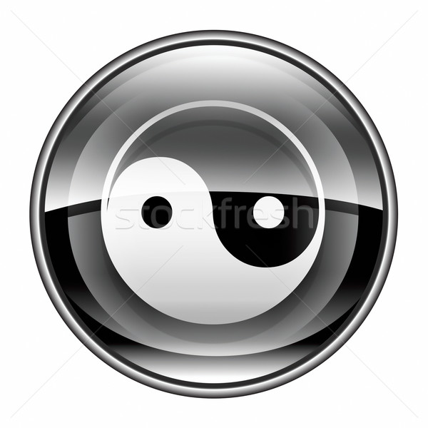 Stock photo: yin yang symbol icon black, isolated on white background.