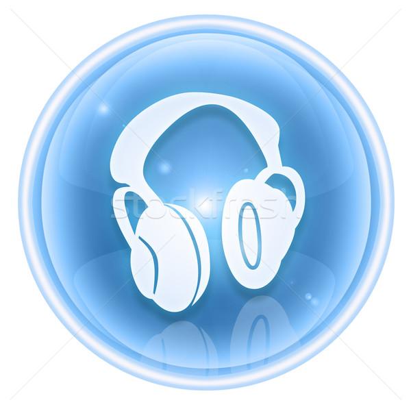 Hoofdtelefoon icon ijs geïsoleerd witte internet Stockfoto © zeffss