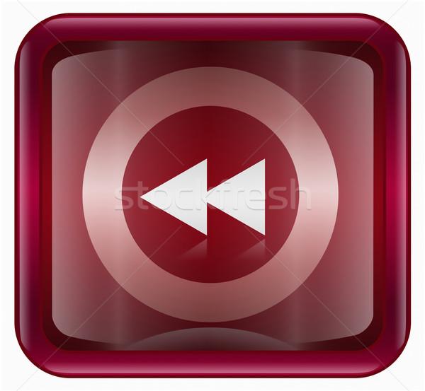 Rewind icon dark red, isolated on white Stock photo © zeffss