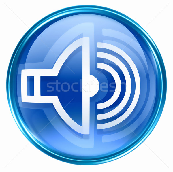 Konuşmacı ikon mavi yalıtılmış beyaz müzik Stok fotoğraf © zeffss