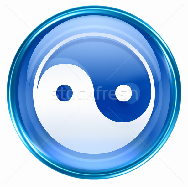 Stock photo:  yin yang symbol icon blue, isolated on white background.