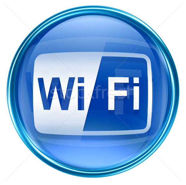 Stock photo: WI-FI icon blue, isolated on white background