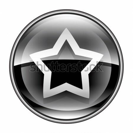 Photo stock: Star · icône · noir · isolé · blanche · internet
