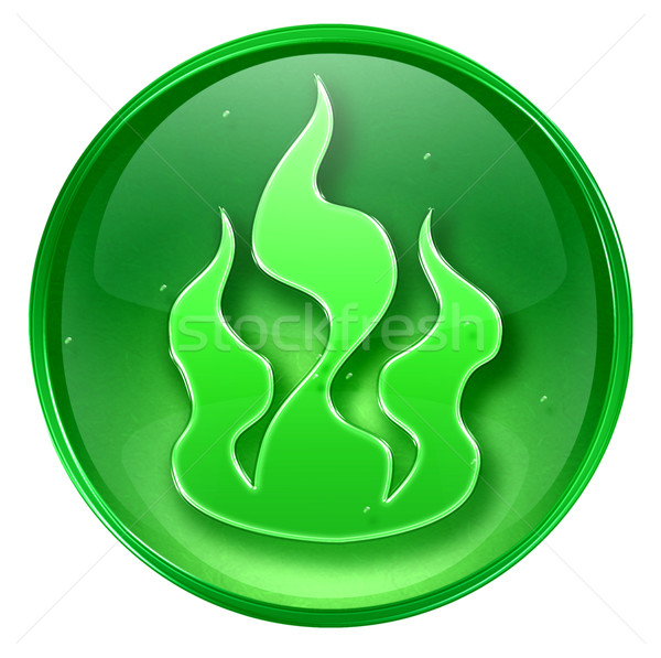 fire icon green, isolated on white background.  Stock photo © zeffss
