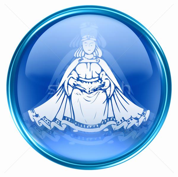 Dierenriem knop icon geïsoleerd witte glas Stockfoto © zeffss