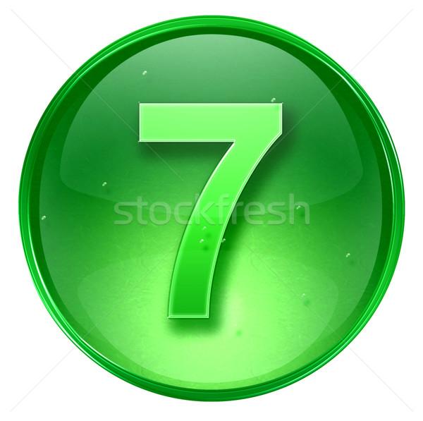 Сток-фото: числа · семь · икона · зеленый · изолированный · белый