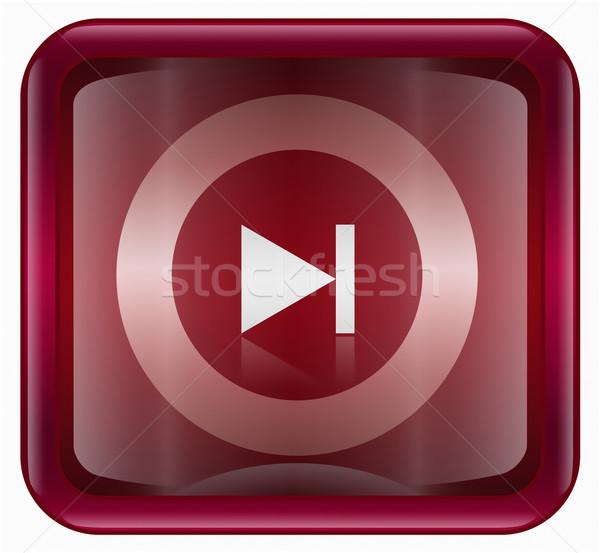 Rewind Forward icon dark red, isolated on white background Stock photo © zeffss