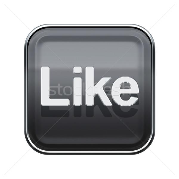 Like icon glossy grey, isolated on white background Stock photo © zeffss