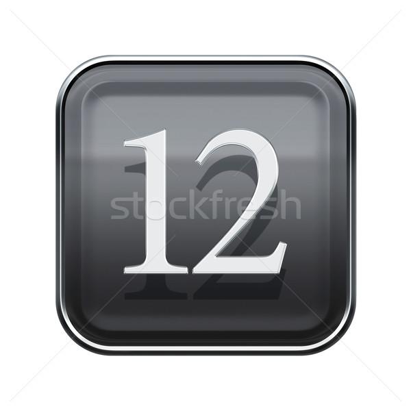 Dodici icona grigio lucido isolato bianco Foto d'archivio © zeffss