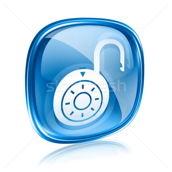 Blokady ikona niebieski szkła odizolowany biały Zdjęcia stock © zeffss