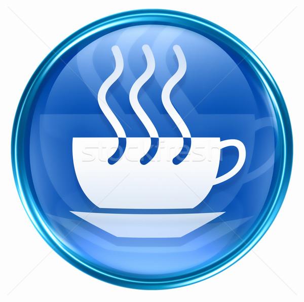 Photo stock: Tasse · de · café · icône · bleu · isolé · blanche · café