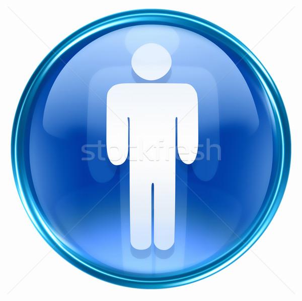 Stockfoto: Mannen · icon · Blauw · geïsoleerd · witte · water