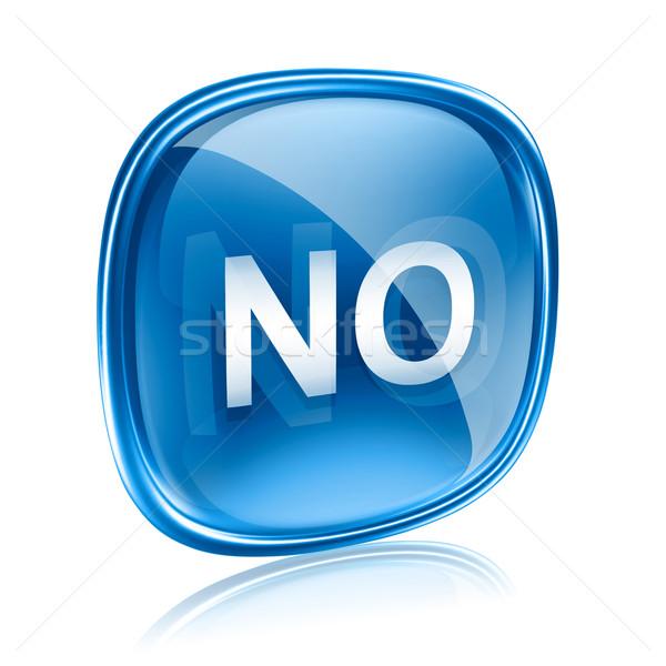 Stock foto: Keine · Symbol · Glas · blau · isoliert · weiß