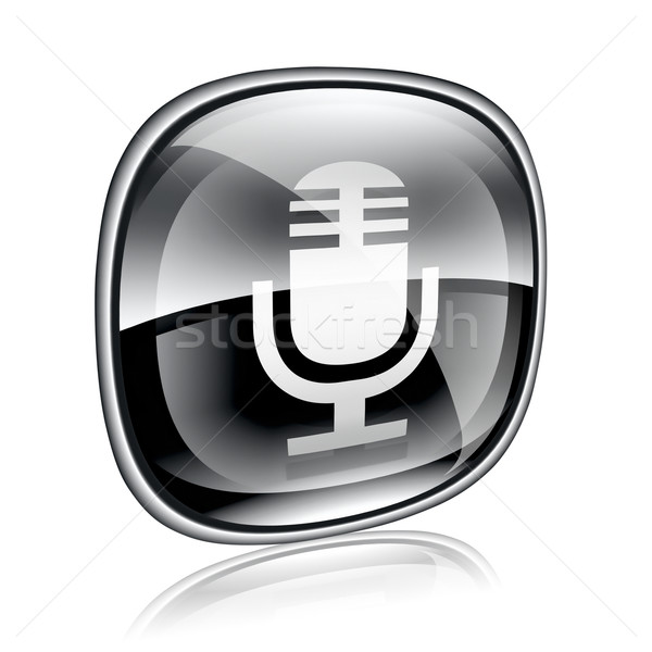 Microphone icon black glass, isolated on white background Stock photo © zeffss