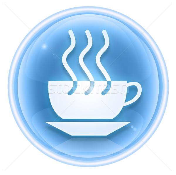 Сток-фото: чашку · кофе · икона · льда · изолированный · белый · свет